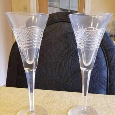 Waterford crystal champagne flutes w/flag- set of 2