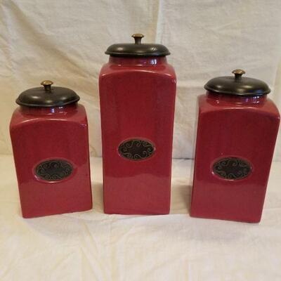 Pier 1 Ceramic 3 piece canister set