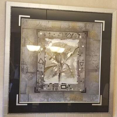 silver framed picture- palm theme