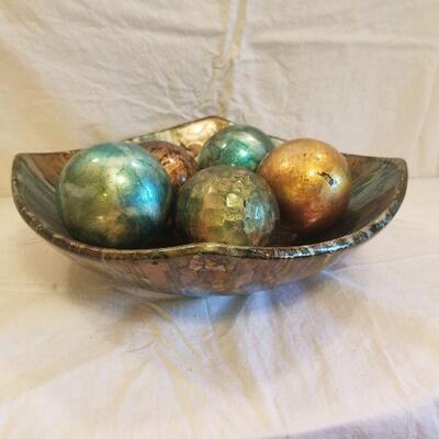 Aqua & gold square bowl & balls