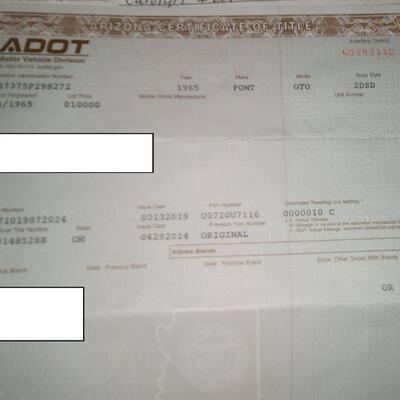 1965 Pontiac certificate of title