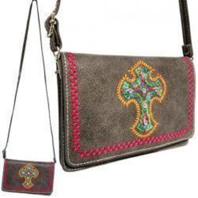 160 Gray PU leather embroidered cross crossbody bag Crossbody Bag