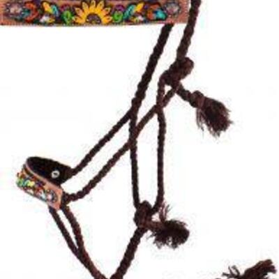Showman® Woven brown nylon mule tape halter with hand painted feather, sunflower and cactus noseband