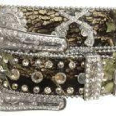 162 Showman Couture ™ Western style bling camo belt with crossed guns conchos