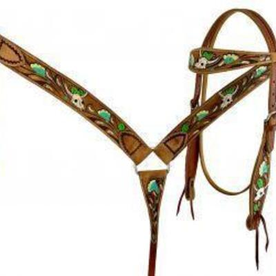 140 Showman ® Hand painted skull, flower and cactus headstall and breast collar set