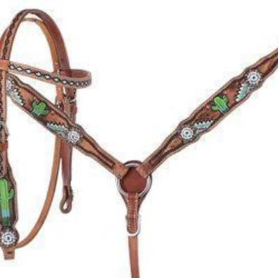188 Showman ® PONY Hand painted cactus headstall and breast collar set with turquoise conchos Showman Pony Hand Painted Cactus Headstall...