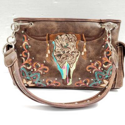 166: Chocolate brown PU leather conceal carry handbag with embroidered ornate steer head.