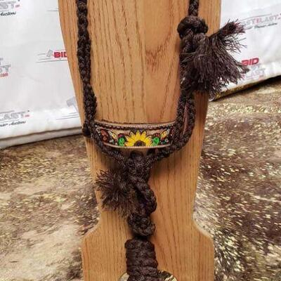 174 Showman® Woven brown nylon mule tape halter with hand painted feather, sunflower and cactus noseband Showman Woven Brown Nylon Mule...