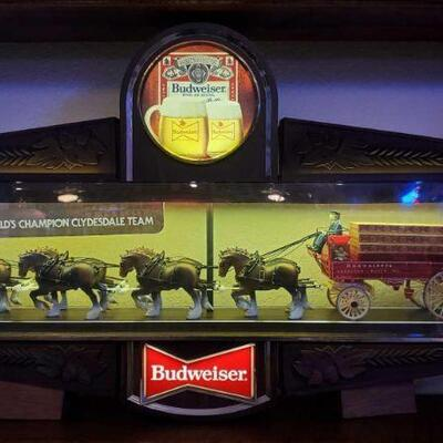 #2602 • Budweiser Illuminated Clydesdale Two Sided Bar Clock