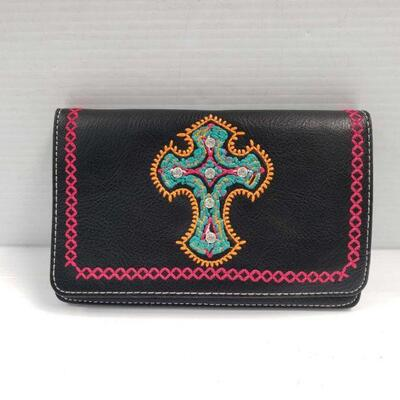 184: Black PU leather embroidered cross crossbody bag.