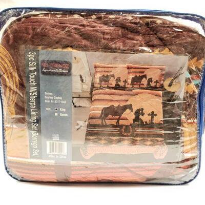 148 Nu trendz signature collection King size 3pc silk touch WIsherpa lining set (borrego set)