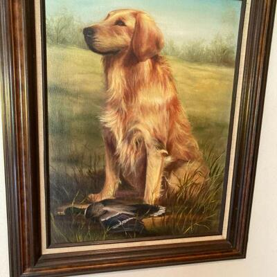 Oil painting of the family dog