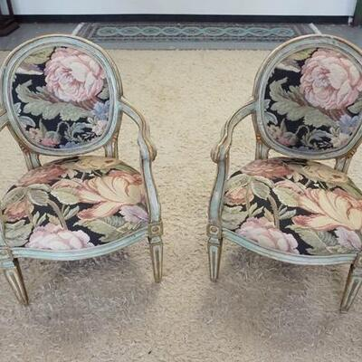 10072 ARM CHAIRS W/PAINT DECORATED FRAMES & NEEDLEPOINT FLORAL UPHOLSTERY
