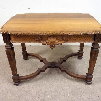 1013WALNUT TABLE W/ CARVED SKIRTING LEGS. 41 IN X 41 IN, 29 IN H