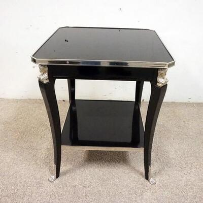 1020BLACK LACQUER LAMP TABLE W. NICKEL FINISH TRIM & PAW FEET 19 IN X 19 IN. 23 IN H