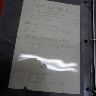 Vintage J.W. Garner dry goods receipt
