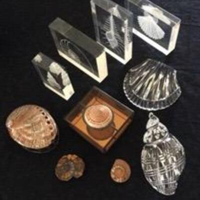 WCT018-FINE WATERFORD CRYSTAL SHELLS & MORE