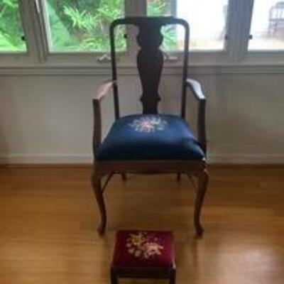 WCT020 - ANTIQUE EMBROIDERED CHAIR & A THOMAS CHIPPENDALE FOOTSTOOL