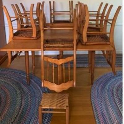 WCT016 - ANTIQUE DROP LEAF DINING TABLE WITH 6 CANE CHAIRS
