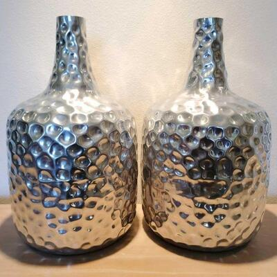 3064  2 Silver Decorative Vases Measures Approx 21