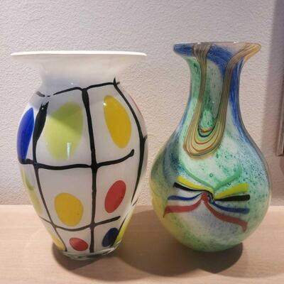 3032  2 Multicolor Glass Vases Measures approx 11