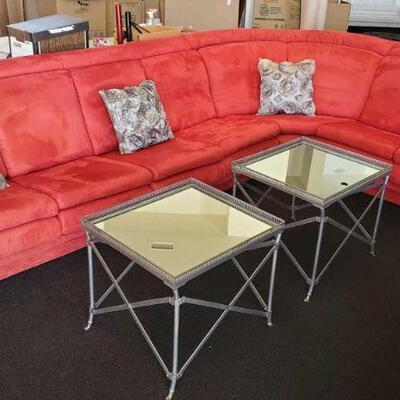 2000  Red Suede Sectional with Accent Chair and 3 Coffee Tables Sectional measures 38