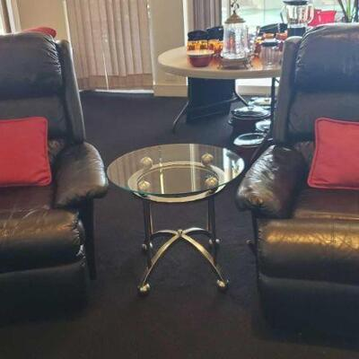 2012  2 Leather Recliners and Glass Top End Table Recliners measure approx 39
