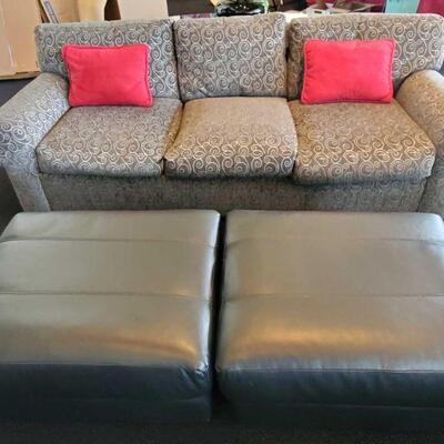 2010  3 Seat Couch with 2 Ottomans Couch measures approx 90