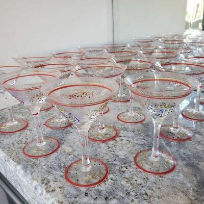 1020  19 Christmas Painted Martini Glasses 19 Christmas Painted Martini Glasses