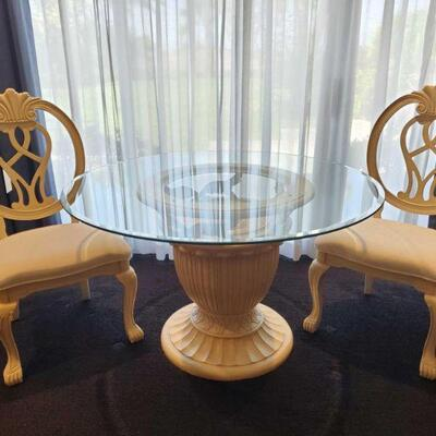3002  Glass Top Table with 2 Chairs Table measures 48