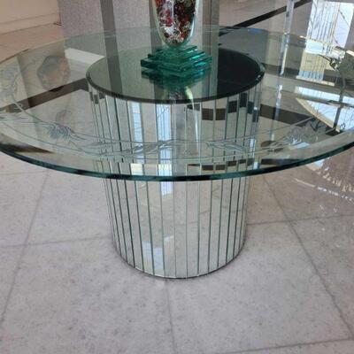 1010  Round Glass Top Foyer Table with Mirror Base Measures approx 55