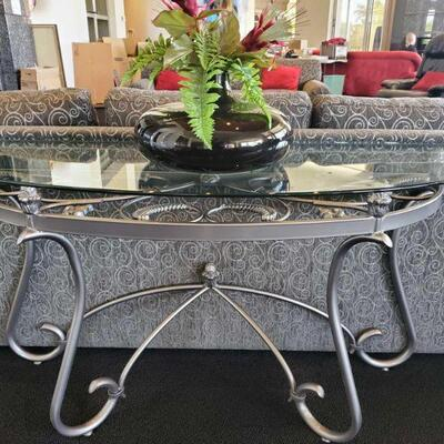 2018  2 Glass Top Entry Way Tables with Vases Tables measures approx 52