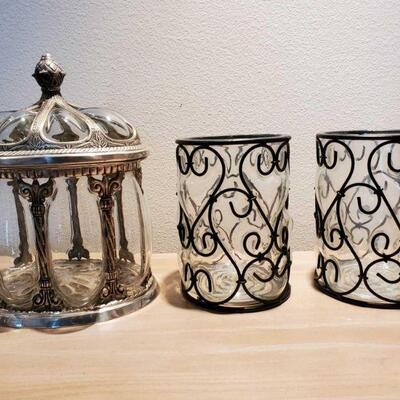 3050  Two Vases And Decor Measurements Range Approx 8.5