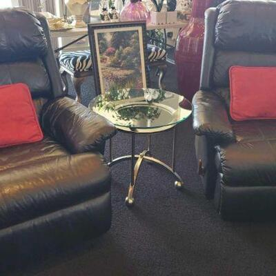 2014  2 Leather Recliners and Glass Top End Table Recliners measure approx 39