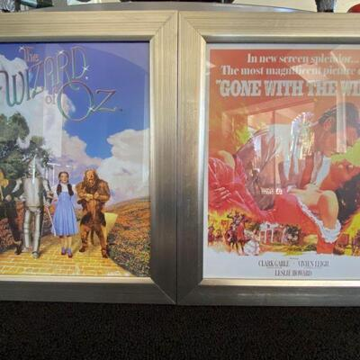 """2154  Framed """"Wizard of Oz"""" and """"Gone with the Wind"""" Movie Posters"""