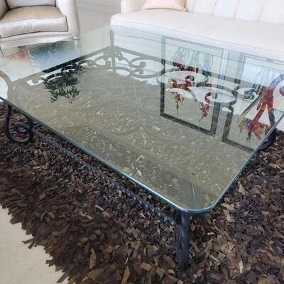 1004  Glass Top Coffee Table with Metal Base Measures approx 47