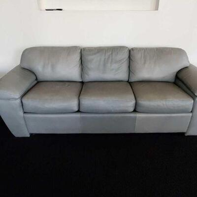 2402  Grey Couch And 2 Glass End Tables Couch Measures Approx 98