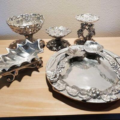 3052  Serving Platter, Candle Sticks, And Dishes Serving Platter, Candle Sticks, And Dishes