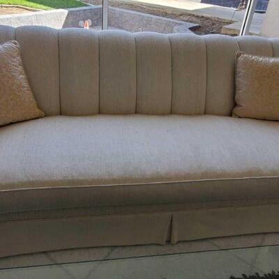 1002  2 Cream Upholstered Couches Measures approx 96