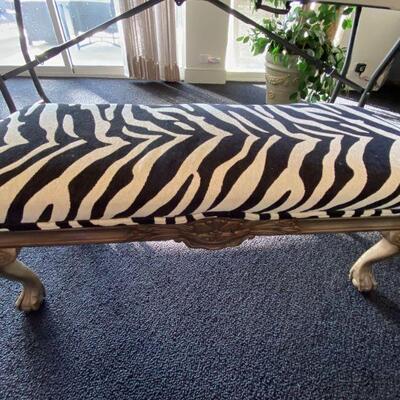 2152  Zebra Print Bedroom Bench