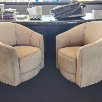 2020  4 Suede Leather Swivel Chairs Measures approx 32