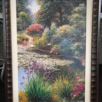 """2160  Framed """"Litchfield Pond"""" by Henry Peters Print on Canvas Measures approx 23"""" x 32"""""""