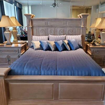 3004  American Drew California King Bed Frame with 2 Nightstands and 2 Lamps Bed frame measures approx 85