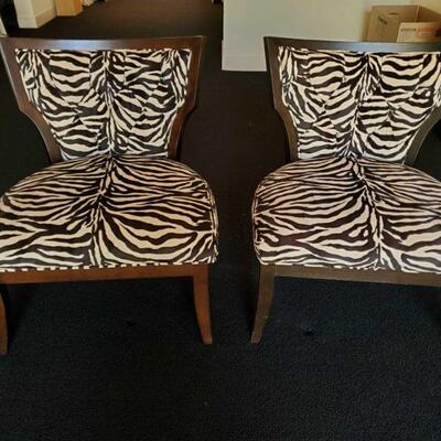 2552  2 Zebra Accent Chairs Measures Approx