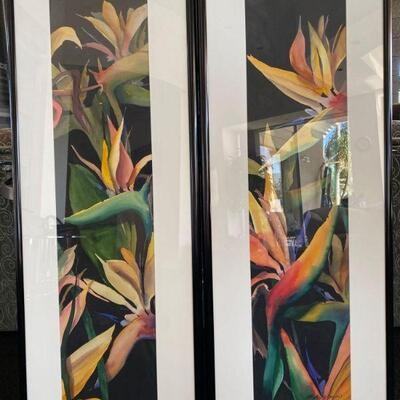 """2156  2 Signed Framed Pieces of Artwork Measures approx 18"""" x 49"""""""
