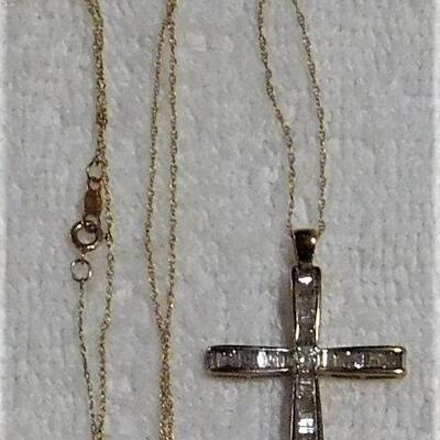 10k Diamond Cross Necklace