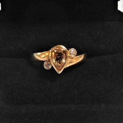14k Diamond and Stone Ring