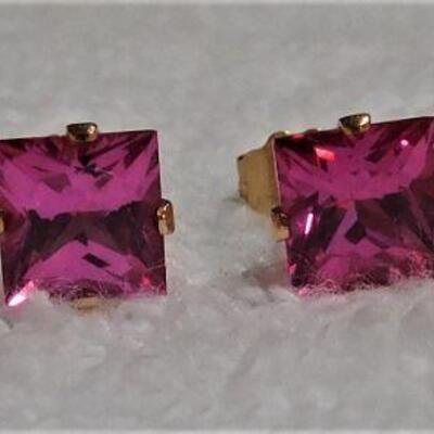 2 Pair 14k Ruby Earrings