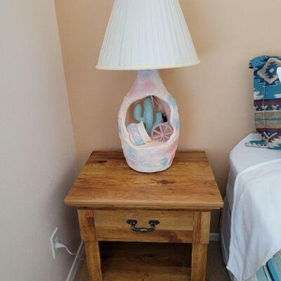 Wood nightstand table and native motive lamp