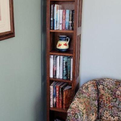 Tall thin wood bookshelf